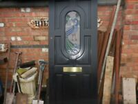 DOOR RECLAIMED HARDWOOD PEACOCK STAIN GLASS
