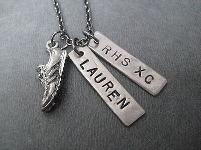 (CROSS COUNTRY PERSONALIZED HIGH SCHOOL TEAM NECKLACE~18 inch~RUNNING JEWELRY)