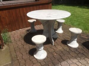 Round  Marble Patio Garden Table with Marble Legs plus 4 Stools