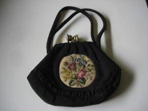 Ancienne petite sacoche sac à mains en tissu