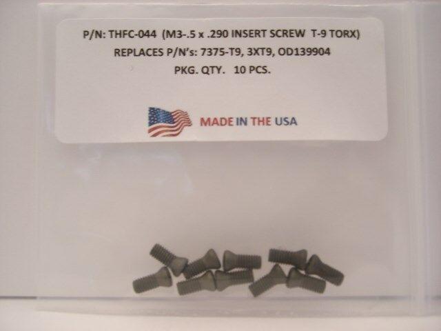 10 Pieces THFC-044 Spade Drill Lock Screw: 7375-T9 .. 3XT9 .. OD139904