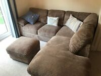 Left hand facing corner sofa and storage footstool for sale - excellent condition.