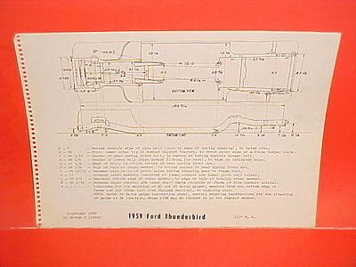 1959 FORD THUNDERBIRD T-BIRD TUDOR HARDTOP CONVERTIBLE FRAME DIMENSION CHART