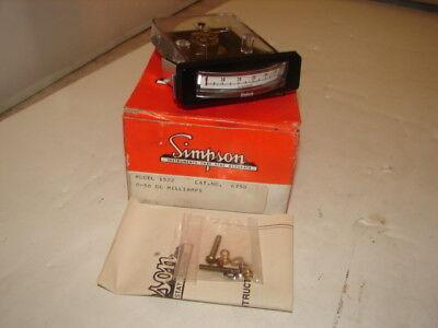 Simpson 15226750 Ampmeter 0-50 Dc Milliamperes Nib