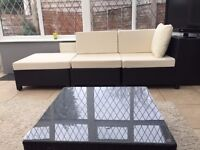 Conservatory/outdoor garden furniture set black wicker and cream cushions - £150