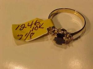 #1246-10K YELLOW GOLD SAPPHIRE/DIAMOND RING Size 7 1/8-FREE SHIPPING CANADA ONLY-ACCEPTED PAYMENT INTERAC BANK TRANSFER