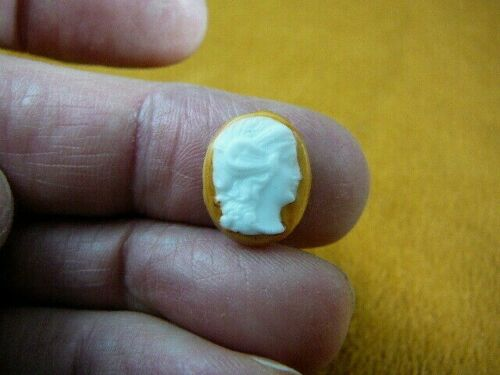 (C1470-13) small Vintage loose Lady oval CAMEO carved Italian orange porcelain