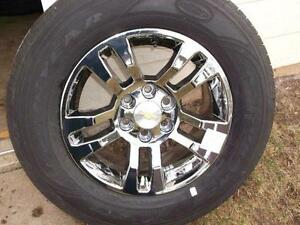 "Chev /Gmc 18"" chrome OEM wheels and tires 265x65x18 NEW PRICE!!"