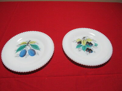 Westmoreland Beaded Edge Decorated Fruit Design 2 Bread and Butter Plates