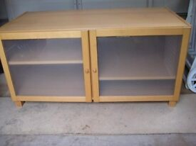 Solid And Chunky Beech Effect Cabinet With Glazed And Frosted Doors. OFFERS WELCOME.