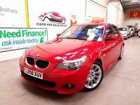 BMW 5 SERIES 2.0 520D M SPORT 4d AUTO 175 BHP (red) 2008