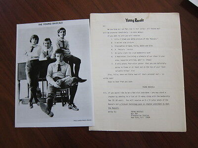 YOUNG RASCALS Press kit 1 photo 3 pgs 1967