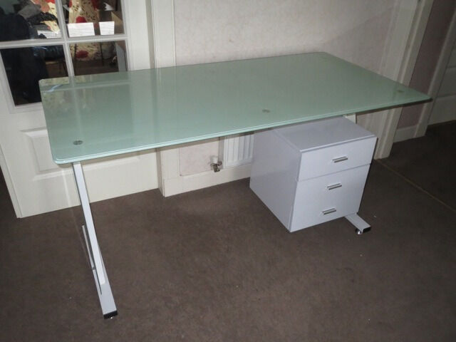 Great ikea desk white metal frame glass table top 3 drawer storage cabinet office smoke pet - Glass office desk ikea ...