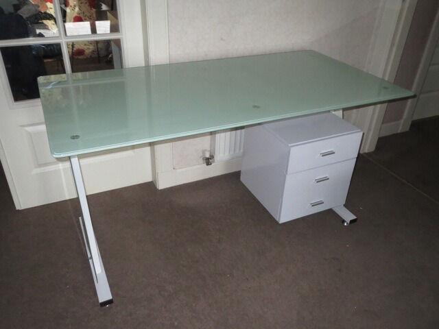 Great ikea desk white metal frame glass table top 3 drawer storage cabinet office smoke pet - Ikea glass office desk ...