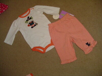 NWT GIRLS HALLOWEEN OUTFIT LS WITCH BODYSUIT & RUFFLED STRIPED PANTS SZ 3 MONTHS