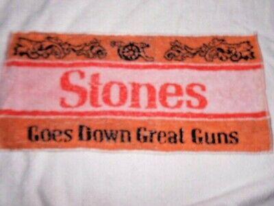 STONES GOES DOWN GREAT GUNS vintage BAR TOWEL mat runner L47 W23 beer breweriana