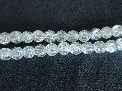 CRACKLE CRYSTAL GLASS BEADS, SOLD BY 100 BEADS STRAND, 8 MM, CLEAR COLOR
