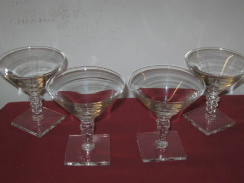 HAWKES CRYSTAL,  #7072 SQUARE FOOTED, SHERBET - SAUCER CHAMPAGNES   --  4