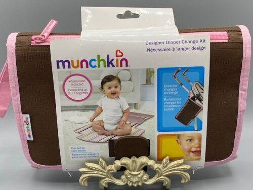NWT Munchkin Designer Diaper Change Kit Pink Brown Portable Travel Wipes Case