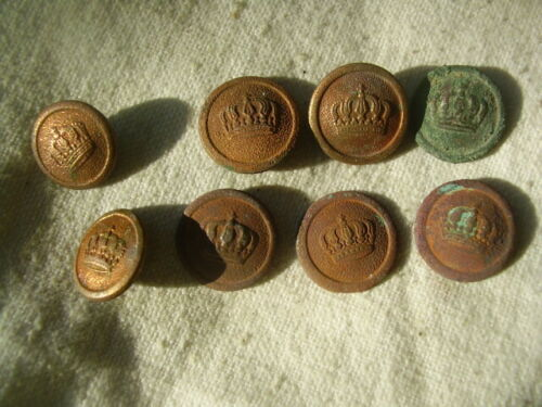 WWI German Army Brass Buttons lot of 8