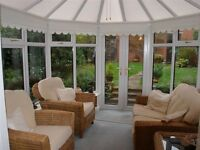 Wicker/Rattan Conservatory sofa and matching chairs for sale