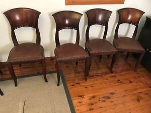 8 x mahogany & leather dining chairs Bexley Rockdale Area Preview