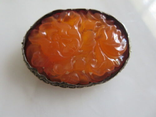 ANTIQUE CHINESE SILVER CARNELIAN PIN -- CHINA SILVER