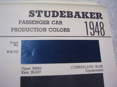 1948  STUDEBAKER PAINT COLOR CHIPS