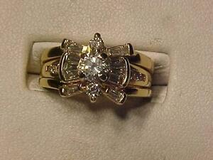 #1099-14K Y/W/Gold 3 PIECE WEDDING SET-STUNNING!-APPRAISED $7,450.00-SELL $1,895.00-SIZE 6 1/4-WILL SHIP CANADA ONLY
