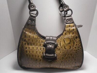 3075c44658 M.C. Marc Chantal Embossed Croc LEATHER Shoulder Bag Handbag Purse
