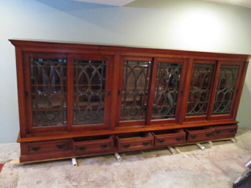 Antique Victorian 11 FOOT!!! Mahogany Leaded Glass 6 Door Bookcase, c1910/ Orig.