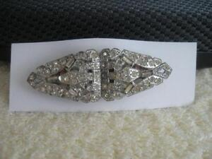 GORGEOUS OLD GEMMED COMBINATION BROOCH / Pr. of SCARF CLIPS