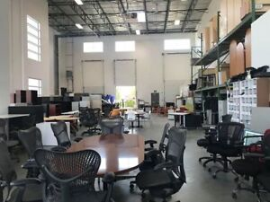 WAREHOUSE FULL OF OFFICE FURNITURE, CHAIRS, DESKS, CABINETS, ETC