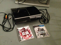 Playstation 3 with 2 Games and Cables