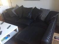 Large L Shape Black Leather Sofa