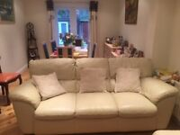 CREAM LEATHER SOFA-- 3 SEATER, 2 SEATER AND ARM CHAIR