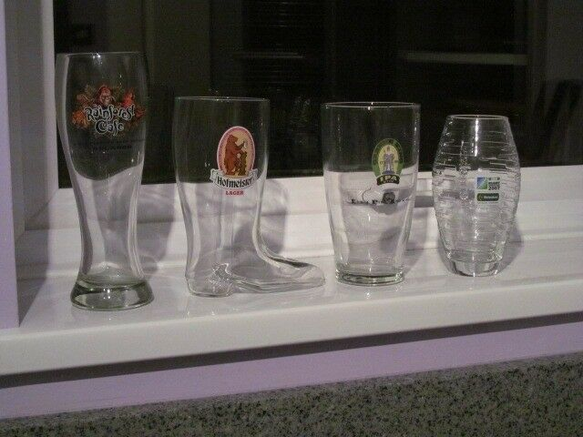 4 Very Unusual Collectable Beer Glasses