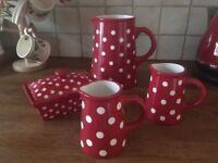 Laura Ashley polka dot jug pottery collection