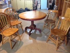 Solid Wood Pedestal table and chairs
