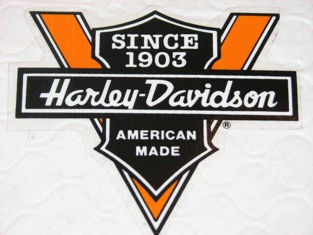 "HARLEY DAVIDSON SINCE 1903 AMERICAN MADE VINTAGE DECAL 4.75"" X 4.5"" (OUTSIDE)NEW"