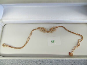 STERLING SILVER PINK GOLD PLATED CUBIC ZIRCONIA BRACELET