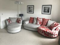 DFS 4 seater sofa, swivel chair and footstool