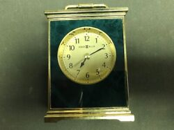 HOWARD MILLER CARRIAGE ALARM CLOCK GREEN MARBLE COLOR