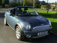 10 REG MINI COOPER 1.6 CHILI CONVERTIBLE IN METALLIC BLUE HPI CLEAR LOW MILEAGE