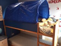 Kura Reversible bed with 1 mattress and bed tent