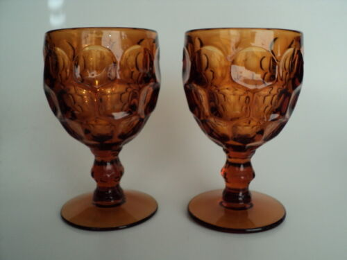 """2 Vintage Imperial Glass Ohio Provincial Amber Design Goblets Made in USA 5 5/8"""""""