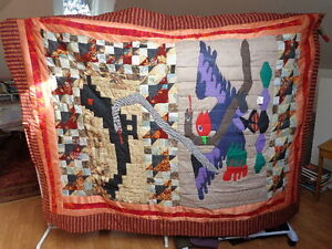Quilt / Bedspread, Home Made, Titled  Crow, Hawk, Snakes