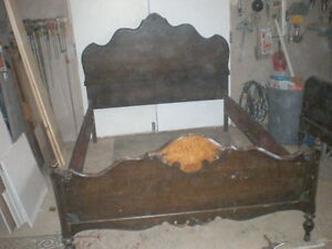 Antique Solid Walnut Double Bed