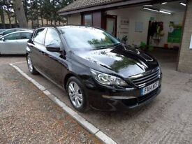 PEUGEOT 308 1.6 E-HDI ACTIVE 5d 114 BHP 1 OWNER FROM NEW (black) 2014