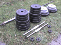 Dumbbell barbell Weights and Bars 112.56 lb's 54.8 kg approx